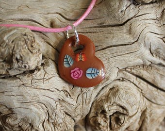 CLEARANCE - Heart with Flower and Butterfly Pendant // Polymer Clay Jewelry // Gift for Her // One of a Kind Handmade Jewelry