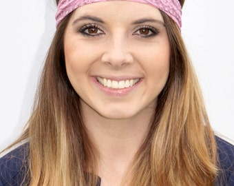 Pink Lace Headband   Fitness Headband   Yoga Headband   Workout Headband   Fashion Headband   Pink Lace Headband   Stylish Headband   Lace  