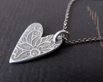 sweet heart necklace - personalized sterling silver heart charm new baby grandma