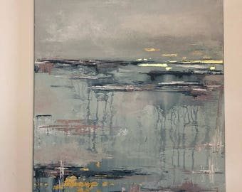 "16 x 20 ""Glacier Lake"" Original Abstract Art"