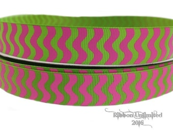 10 Yds WHOLESALE 7/8 Inch LiME with HoT PiNK WaVY Stripes grosgrain ribbon LOW Shipping