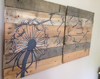 Medium Dandelion Wall Art (Color version) Pallet Art,21x21, 2 piece,Blowing Dandelion,Dandelion Art,Dandelion Painting,rustic wood planks