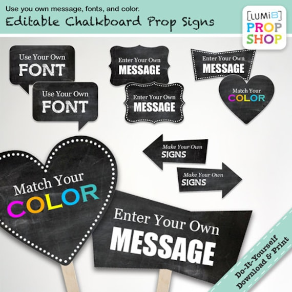 Editable chalkboard style photo booth prop signs diy solutioingenieria Images