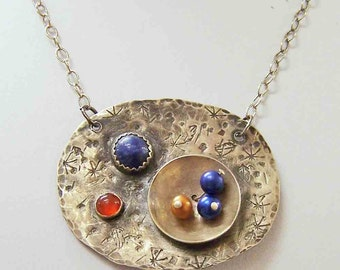 Necklace-Pendant-Sterling Silver with Carnelian, Sodalite, and Freshwater Pearls
