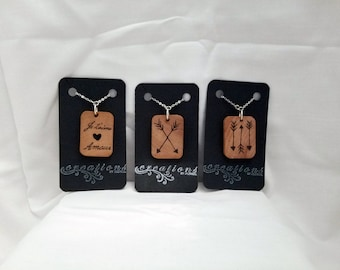Rectangle Wooden Charm Necklaces