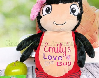 """RED LOVEBUG plushie custom embroidered stuffed animal! Personalized design created for you on the 12"""" stuffie! Let's design something!"""