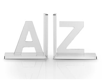 Luxe Crystal Acrylic Bookends A to Z