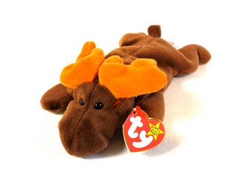 Vintage 1993 Ty Beanie Baby Chocolate The Moose Plush Toy