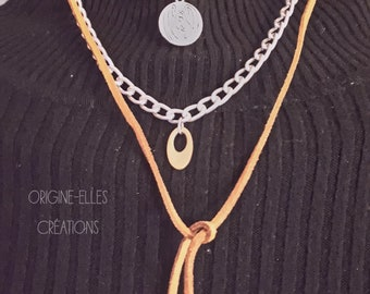 Suede and chain necklace