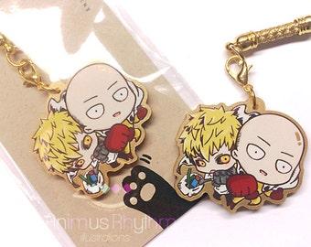 Golden Acrylic straps charm: One Punch Man Saitama Genos