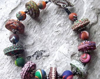 Super-Chunky Stacker Bead Bracelet - Handmade Polymer Clay Beads
