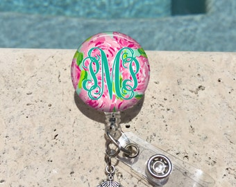Monogram Badge Reel, Retractable Badge Holder, Personalized Badge Reels, Doctor Badge Reels, Pharmacy Badge Reels, RN,MD,Preppy Floral,MB360