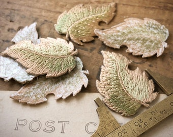 Embroidered Leaf Applique | Green Leaf Applique | Embroidered Leaf Patch | Leaf Iron On | Fall Leaf Patch | Iron On Patch | (6pcs) A39