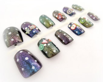 Glitter polka dot nails, Japanese nail art set, kawaii nails, pinup accessories