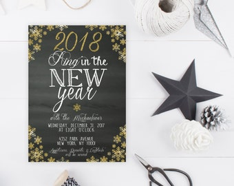 New Years Eve Party Invitation, New Years Invitation, 2017, Ring in the New Year, Printable New Years Party Invitation, Happy New Year [114]