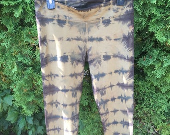 Hand Dyed, ORGANIC Army green leggings