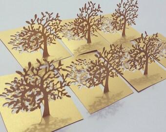 30 psc. Matt Gold Tree Table Decoration, Wedding Table décor, Place Card Holder, Matt Gold Paper Tree Place Cards Holder, Wedding décor
