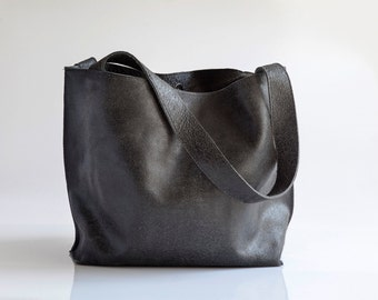 Distressed Black Leather Tote Bag, Soft Leather Bag, Zipper Tote, Large Leather Tote Bag, Black Leather Bag, Shoulder Bag, Handmade Leather