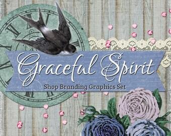 Vintage Bird Branding Banners, Avatar Icons, Business Card, Logo Label + More - 12 Premade Graphics Files - GRACEFUL SPIRIT