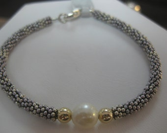 Sterling Silver Toggle Bracelet with 14k Gold Accents and Freshwater Pearl
