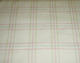Maywood Woolies Off White Cream Pink Green Blue Plaid FLANNEL 18121-WV Fabric BTY