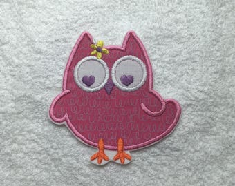 Cute Owl with Flower Iron on Applique Patch