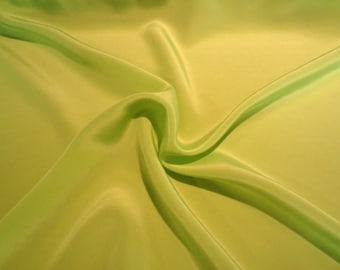 Chartreuse Green Pure Silk Crepe de Chine Fabric--One Yard