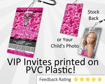 Pink Camo Invitation PLASTIC Pink Camo, Pink Camo Invitation, Birthday Invitation, Birthday Invite, Pink Camo Birthday Invitation SKU-INV054