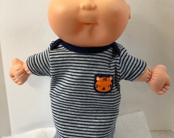 """Cabbage Patch BOY NEWBORN 12 inch Doll Clothes, Cute """"Blue/Gray Stripes with TIGER Pocket"""" Nightshirt, 12 inch CPKKids Newborn Doll Clothes"""