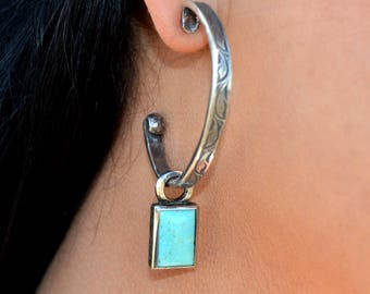 Rockin Out Jewelry - Large Hoop Earring with Kingman Turquoise Drop Charm