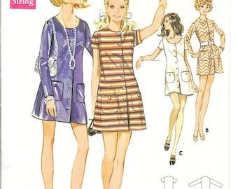 BUTTERICK 5528 Size 14 Bust 36 Vintage 1960's Button Front Shift Short Scoop Round Neckline Mod Dress Pattern