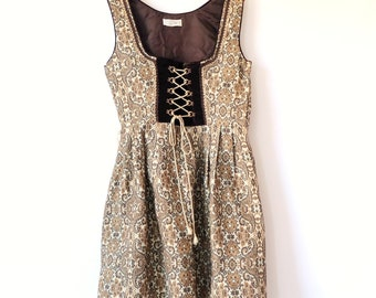 Vintage Brown Pinafore Dress Gobline Woven Style