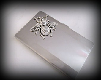 Stainless steel business card holder-credit card holder-bee card holder-gothic card holder-silver bee-steampunk business card holder