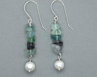 Fluorite & Freshwater Pearl Drop Earring