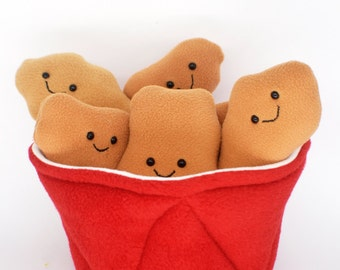Bucket of Fried Chicken plushie / novelty food pillow /plushies kawaii toys comfort fast food takeout takeaway