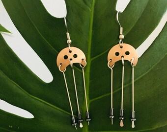 Copper Crescent Earrings