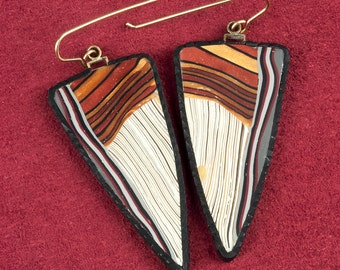Polymere Clay sheild earrings with carved edge