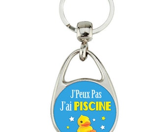 """Keyring """"I can't I pool"""" gift, duck, message"""