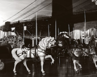 nyc photography jane's carousel brooklyn bridge new york city photography black and white photography double exposure nyc decor carousel