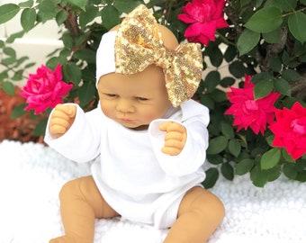 Baby Headband, Gold Sparkle Bow Headband, Baby Sparkle Headband, Sparkle Headband,