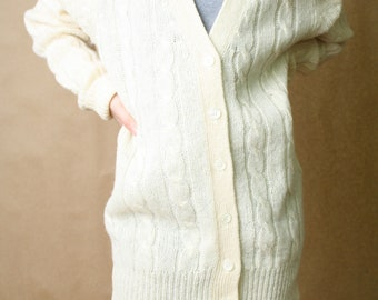 Vintage Cream Wool Cable Cardigan