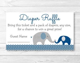 Cute Elephant Diaper Raffle Tickets / Chevron Elephant / Elephant Baby Shower / Chevron Pattern / Navy Blue & Grey / INSTANT DOWNLOAD A219