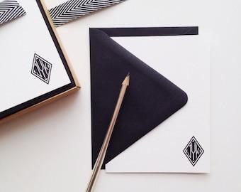 Black Diamond Monogram Flat Card Set