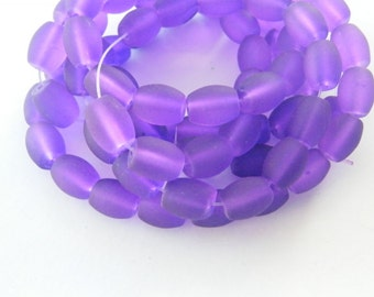 75 Purple frosted glass beads B163