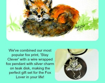 Fox Necklace, Fox Set,Gift Set, Pendant and Print, Animal Lovers  Fox Art  SJO Handcrafted Jewelry