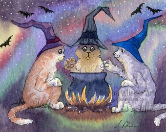cat kitten halloween 5x7 8x10 11x14 inch print witch cauldron print eye of newt toe of frog witches hats bats spells potions Susan Alison