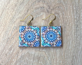 Moroccan tile earrings, Moroccan tile jewelry, Morocco gift, zellige jewelry, zellige earrings, Moroccan wedding jewelry, africa souvenir