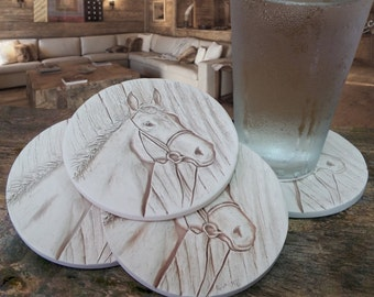 Horse Drink Coasters, Absorbent Coastrs, Coasters, Lake House, Cabin