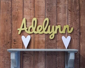 Adelynn Baby Name Sign, Wooden letters, Wooden name sign, Nursery decor, Baby name plaque, Baby shower gift, Wood letters, Cursive baby name