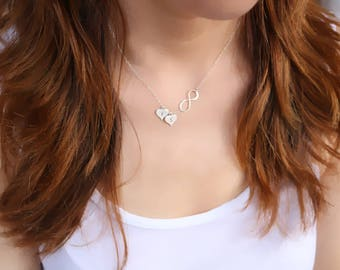 infinity necklace, Heart Necklace, Infinity Heart Necklace, Personalized Initial Heart Necklace, Sterling Silver Heart Necklace